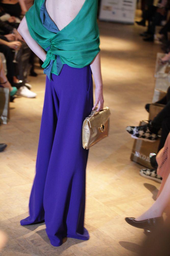Palazzo pants, silk chiffon top and gold clutch, AW2013 catwalk