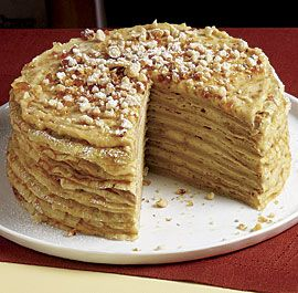 Crêpe Cake with Coffee Cream and Hazelnut Praline--A stack of crêpes layered with two sweet fillings—one creamy, one crunchy—becomes a luscious, sophisticated cake. Via FineCooking.com
