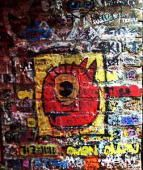 The Pie Pizzeria: Customers write and create artwork on the brick walls at The Pie Pizzeria. Love the Pie pizza !!