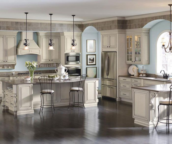 Cream cabinets with coconut grey stone glaze in traditional by diamond cabientry for the home - How to glaze kitchen cabinets cream ...