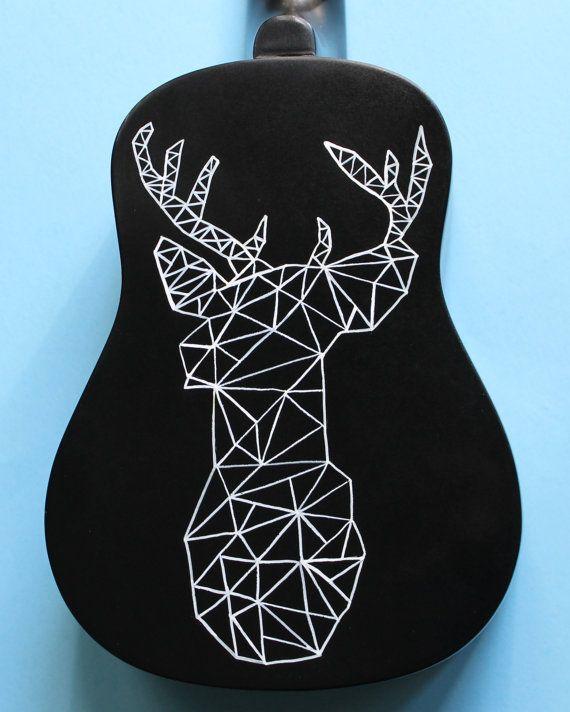 Geometric Deer Hand-Painted Ukulele by UkuLeeShee on Etsy