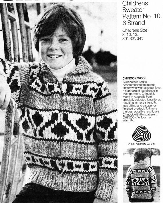 Chinook 10 Child Native Canadian Sweater by CowichanValley on Etsy, $2.49