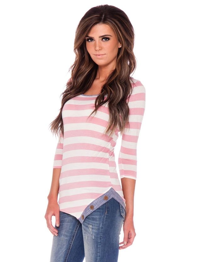 Pink White Stripe Button Top | Affordable Womens Boutique Clothes | Trendy Modest Church Dresses