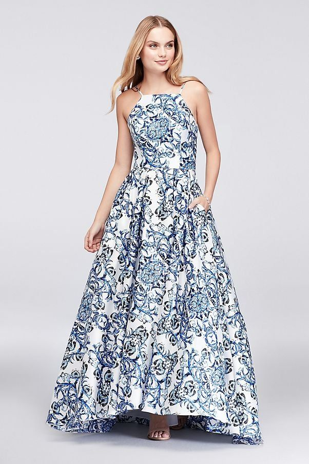 6ad2161617d Blue Printed Satin Halter Ball Gown Prom Dress with Lace-Up Back ...