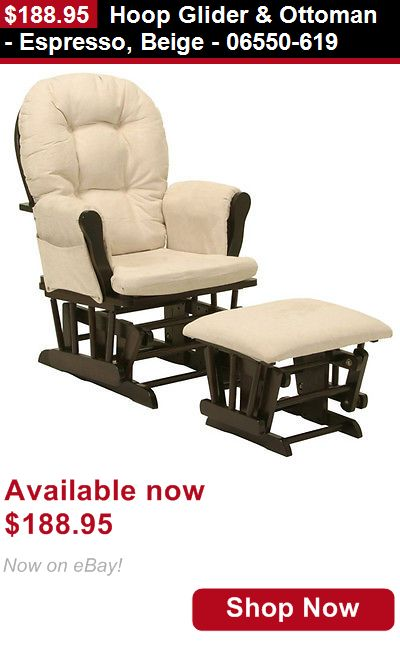 Nursery Furniture Sets: Hoop Glider And Ottoman - Espresso, Beige - 06550-619 BUY IT NOW ONLY: $188.95
