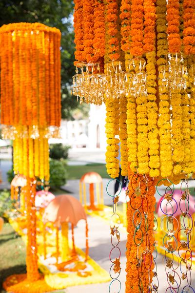 gold kaleere, floral decor, genda phool decor, mehendi decor, bangles decor