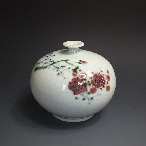 백자진사 매화문병 白磁辰砂 梅花紋甁 (white Jinsa porcelain - Cherry Blossom)