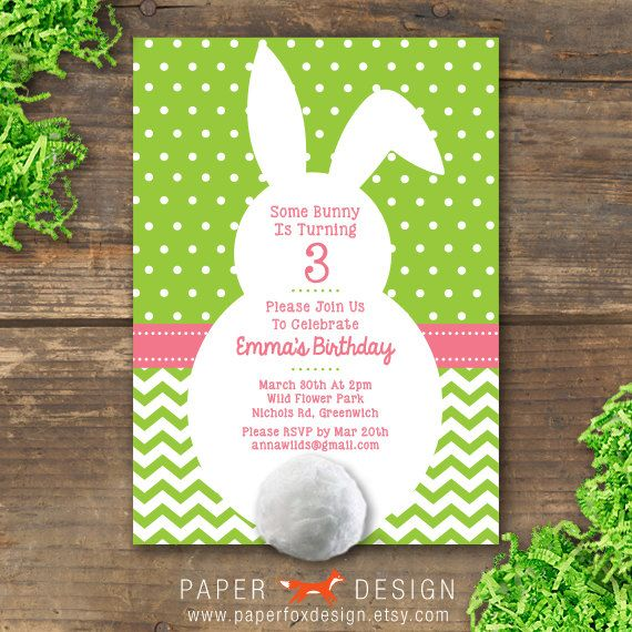 Bunny Party Invitation  DIY Printable by PaperFoxDesign on Etsy, $12.50