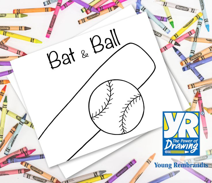 Teaching Kids How To Draw How To Draw A Baseball Bat Ball Drawings Teaching Kids Easy Drawings