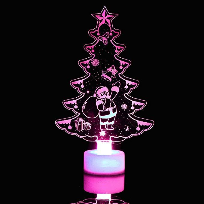 Flybuild Color Changing Crystal Christmas Tree Night Light Battery