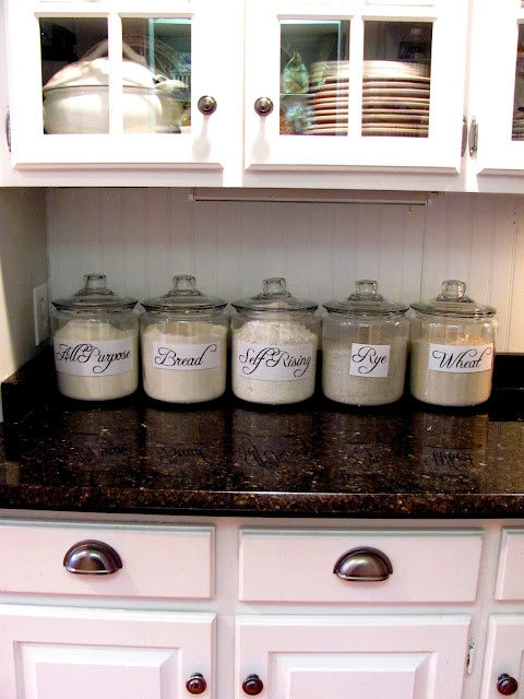 The 25 best flour storage ideas on pinterest no pantry for Kitchen countertop storage solutions