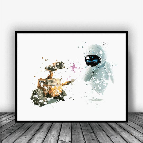 Wall-E and Eve Watercolor Art Print Poster.