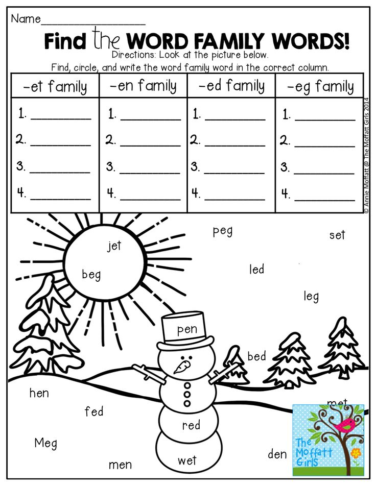 Printable Word Family Worksheets : Word family worksheets for second grade free