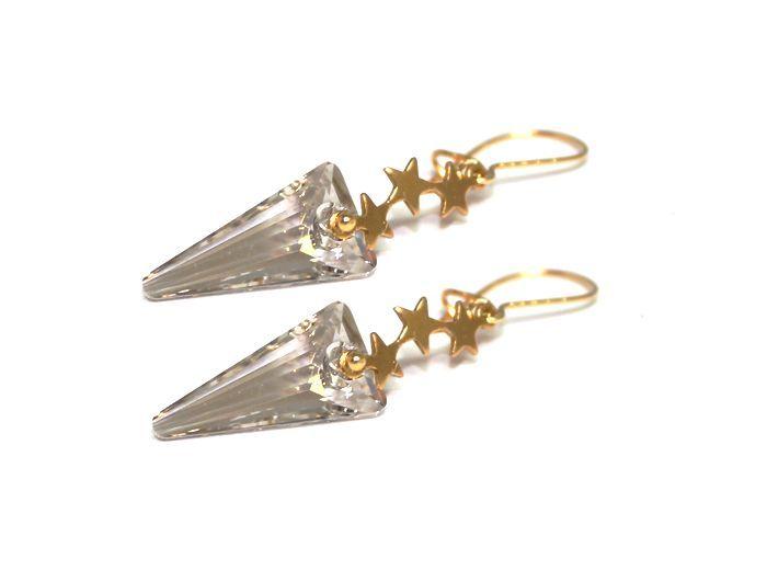 Tristars champagnefarget swarovski og gull på sølv ørepynt -  Tristars champagne color Swarovski and gold vermeil earrings