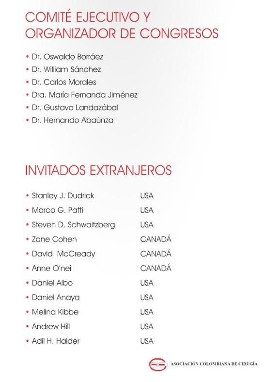 Invitados Extranjeros, Congreso Nacional de Cirugía.