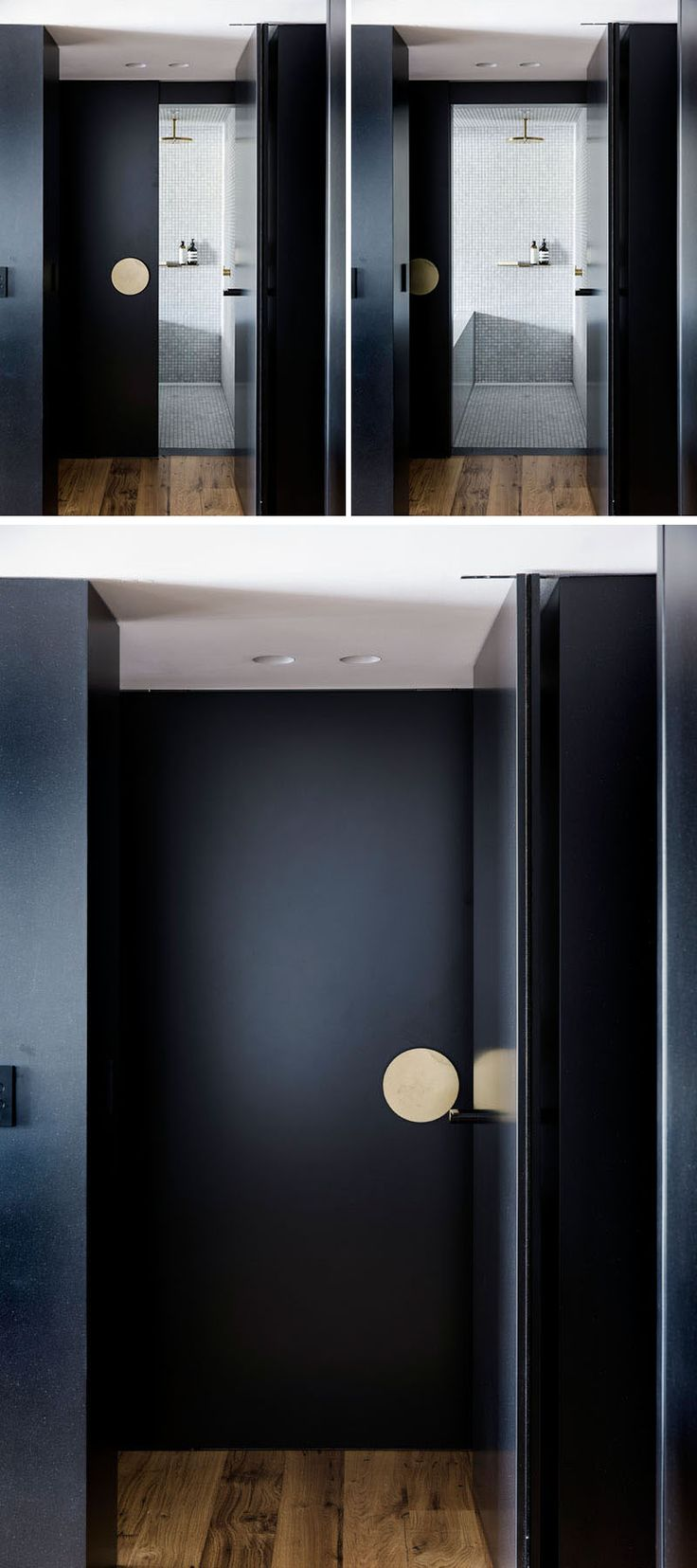 This modern bathroom has a large sliding black door with an over-sized door handle.