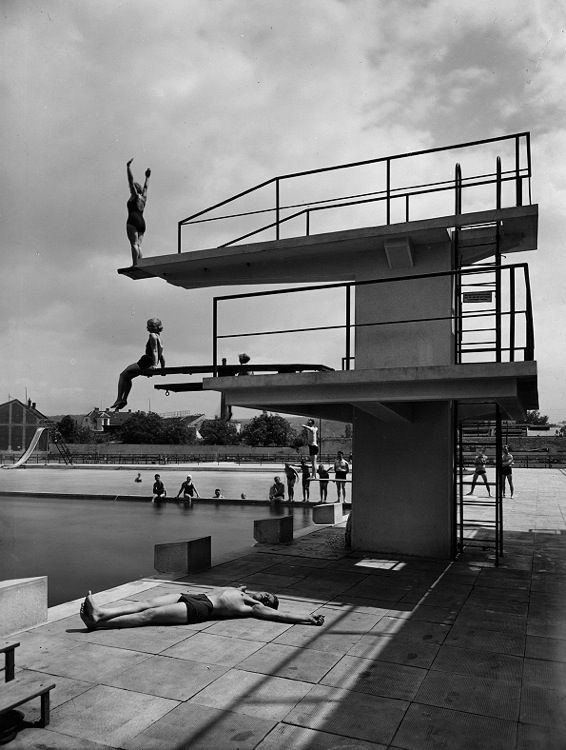 Public spa and swimming pools, Bohuslav Fuchs, Brno - Zabrdovice, Czechoslovakia, 1929