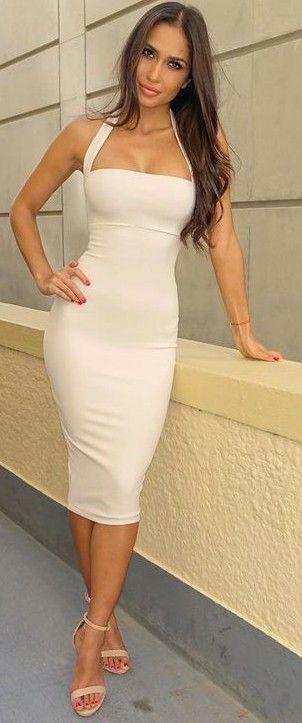 Midi White Dress @roressclothes closet ideas #women fashion outfit #clothing style apparel