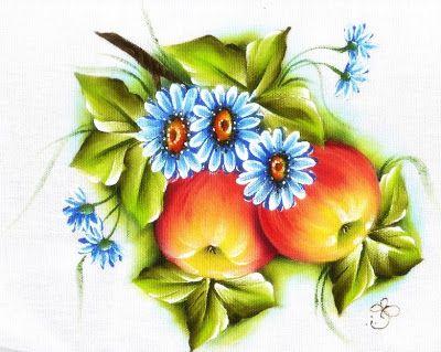Pintura em Tecido Passo a Passo Com Fotos: Pintura em Tecido Frutas Maçãs e Margaridas Pano de Prato