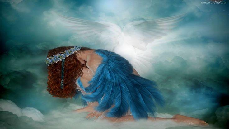 Kobieta, Niebieski, Anioł