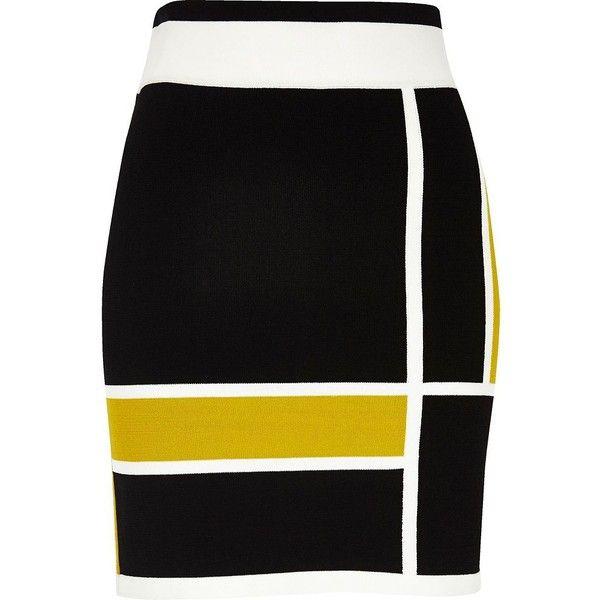 River Island Black colour block mini skirt (£32) ❤ liked on Polyvore featuring skirts, mini skirts, bottoms, stretchy skirt, stretch mini skirt, river island, short mini skirts and colorblock skirts