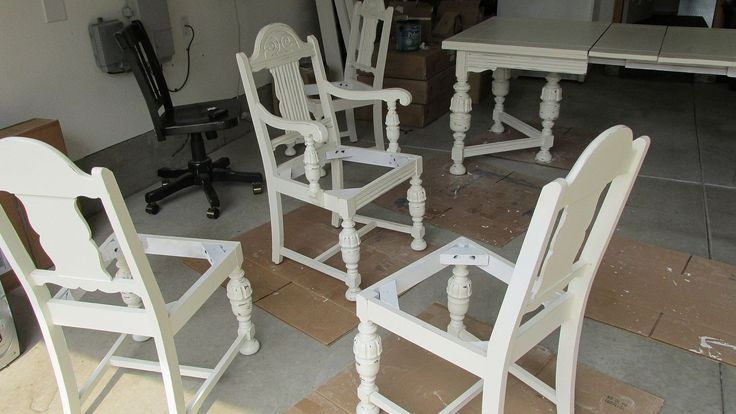 diy 1920 s vintage table chairs redo, home decor, living room ideas, painted furniture, IN PROGRESS Had to spray with Killz White Primer so no bleed through from old Mahogany finish