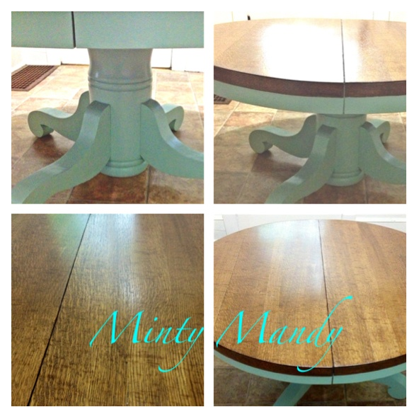 Sold Solid Wood Round Pedestal Coffee Table 45 Round Painted In A Mint Paint And Stained In