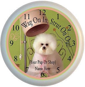 13 best names images on pinterest dog grooming business pets and pet groomer poodle dog business wall clock with your name or shop name ebay solutioingenieria Gallery