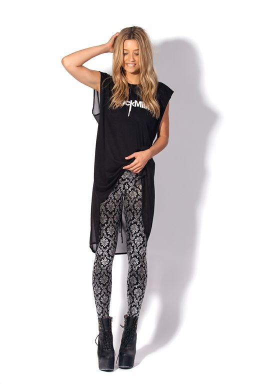 Wallpaper Shiny Shiny (And High-Waisted!) Leggings by Black Milk Clothing