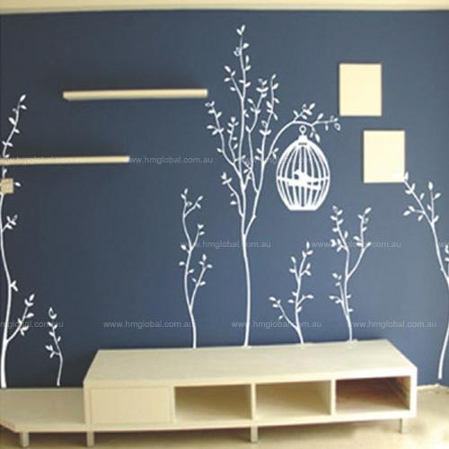 Rbol con decoraci n de p jaro jaula de la pared trasladable en negro o blanco products i - Paredes pintadas a cuadros ...