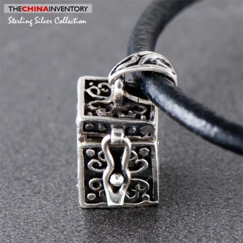 925 STERLING SILVER TEA CHEST LOCKET PENDANT SIL0405