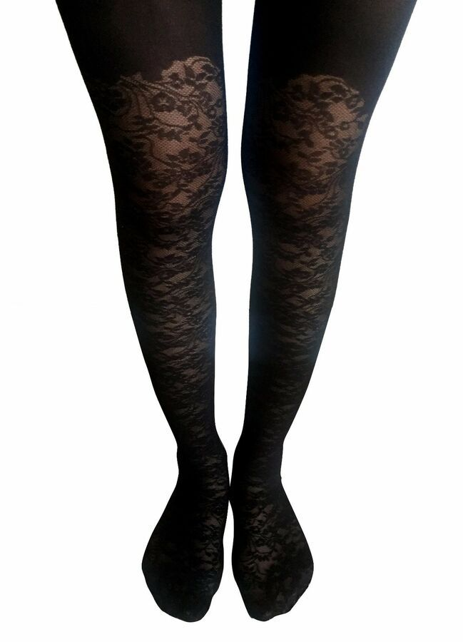 Black Fiore Simple 20 Den Tights Pantyhose Hosiery Nylons Size S