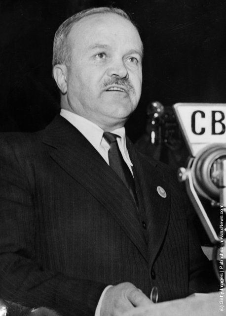 Russian Foreign minister Vyacheslav Molotov broadcasting from the United Nations conference in San Francisco after the announcement of the German surrender. 14th May 1945