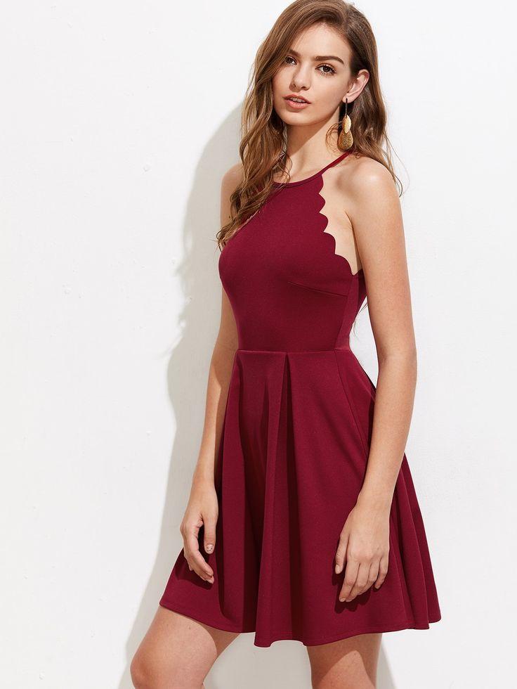 Scallop Edge Box Pleated Dress