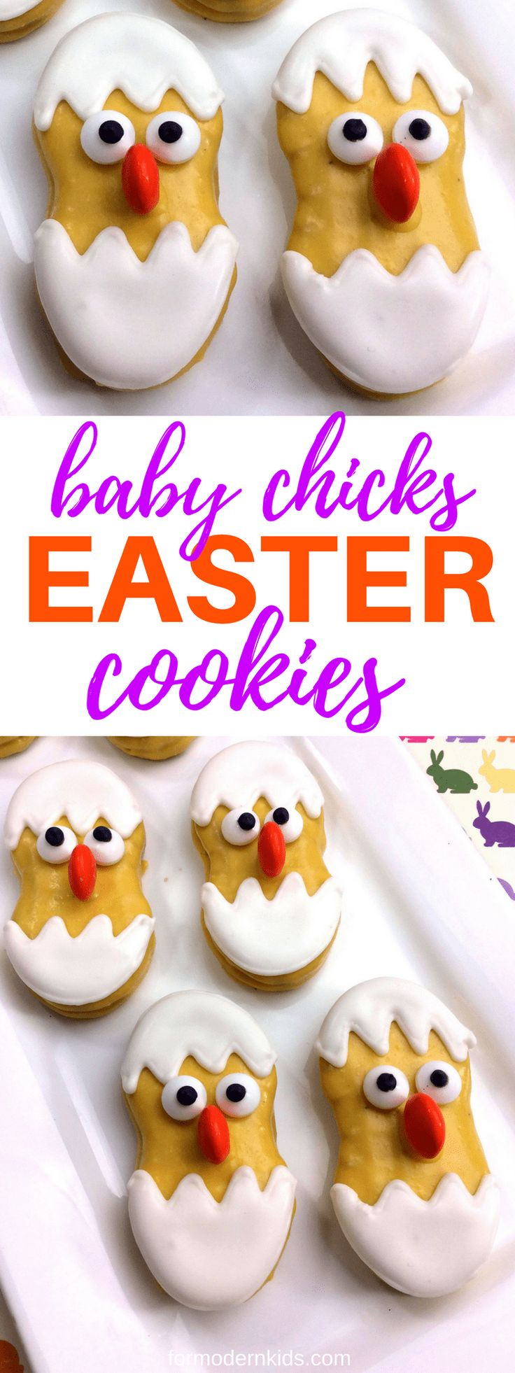 Baby Chicks Easter Cookie   For a fun Easter dessert, try this yummy recipe that uses Nutter Butter cookies. Make these Easter cookies as a fun treat or a snack after a fun game of Easter egg hunt. #Easter #EasterCookies #EasterRecipes