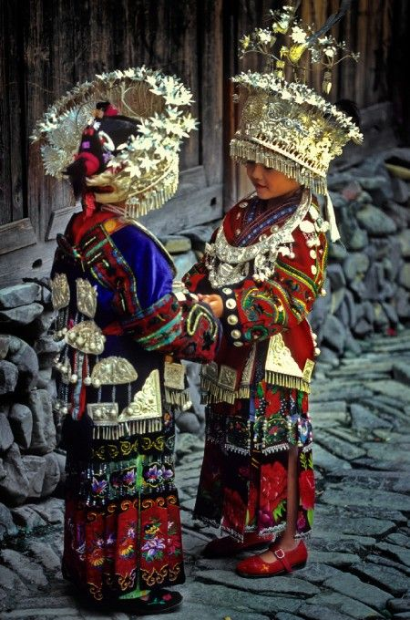 Cute little Miao girls - China, Guizhou
