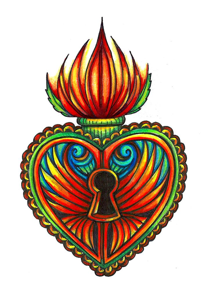 Milagro Sacred Heart Lotus Tat by spookyspittle.deviantart.com on @deviantART