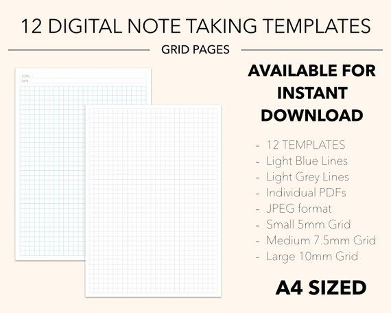 12 Digital Note Taking Templates Grid Paper Grey Blue Small 5mm Medium 7 5mm Large 10mm A4 Letter Notebook Journal Planner Grid Paper Lettering Grid