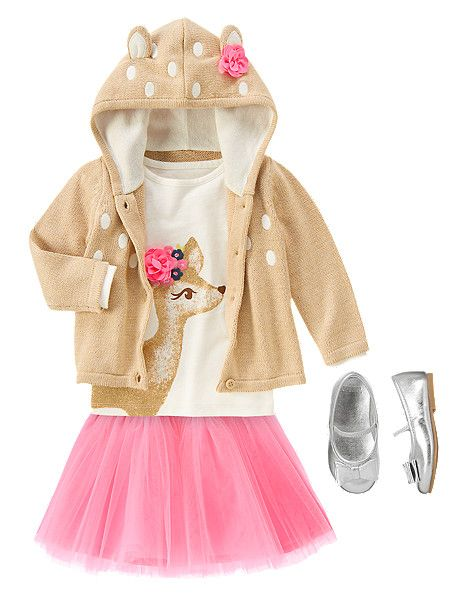 Oh deer. Gymboree Prancing Fawn Baby Girls Sweater, Deer Shirt, and Tulle Skirt with Silver Shoes