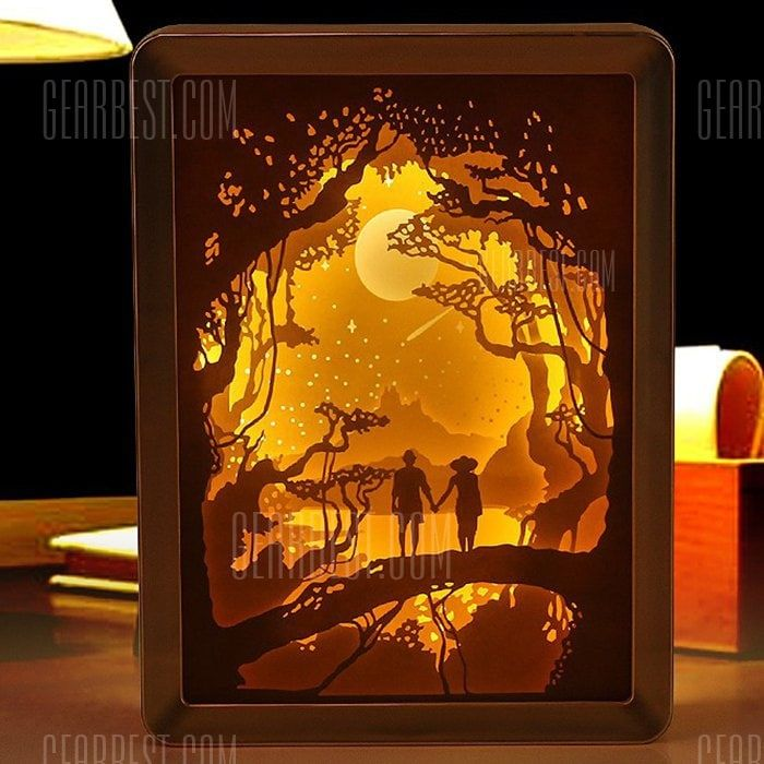 Just 24 00 Shop 3d Light And Shadow Night Lamp Paper Carving Art From Gearbest Usa Mobile Online Store Plus Fr Paper Carving Paper Cutout Art Shadow Box Art