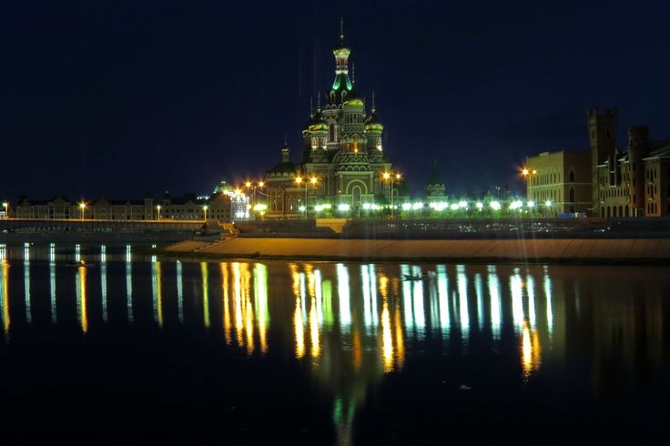 Йошкар-Ола, Марий Эл,Благовещенский собор, ночная Йошкар-Ола