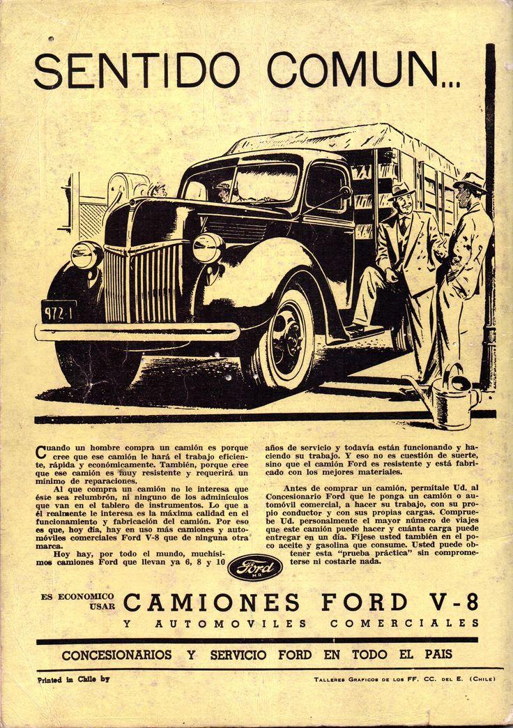 Camiones Ford V-8. Publicado en Revista en Viaje octubre de 1940.