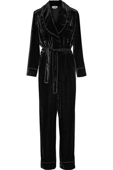 FENDI Crepe-Trimmed Velvet Jumpsuit. #fendi #cloth #jumpsuits