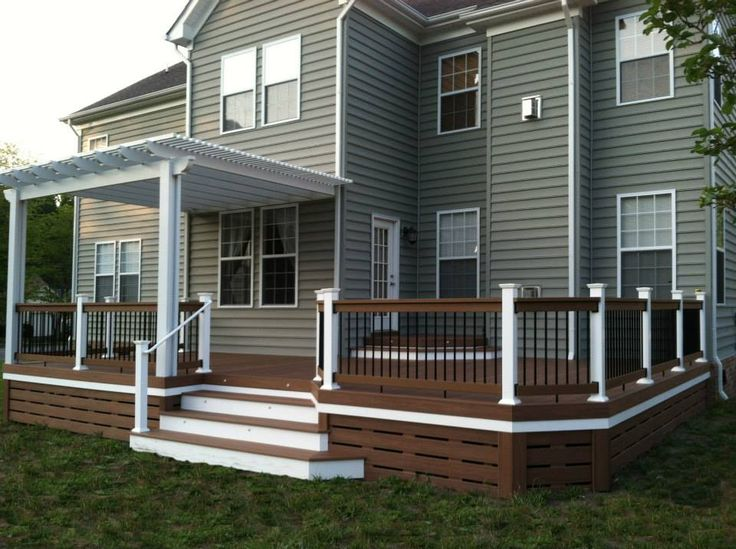 Deck Skirting Idea With Unique Horizontal Slats.