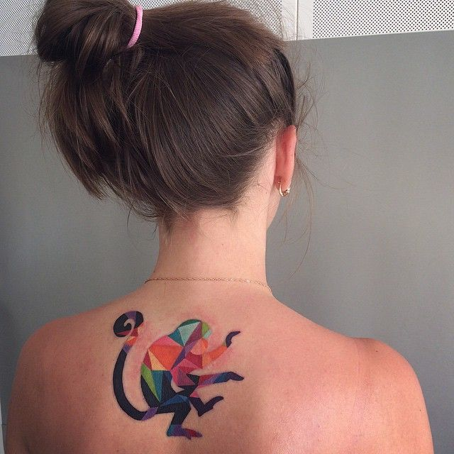 geometric monkey tattoo - Sasha Unisex