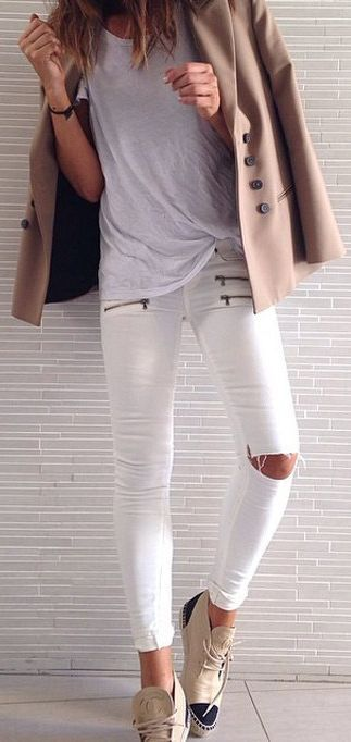 White Front Zip Pockets Slim Fit Distressed Knee Jeans by Seams For a Desire
