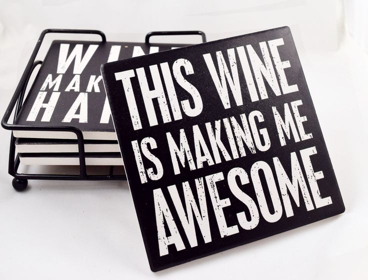 Beautiful and sturdy stone coasters will look great in your home or for a friend! Come in a set of four with four different sayings. Has a black metal holder to set them in when not in use. Captions r