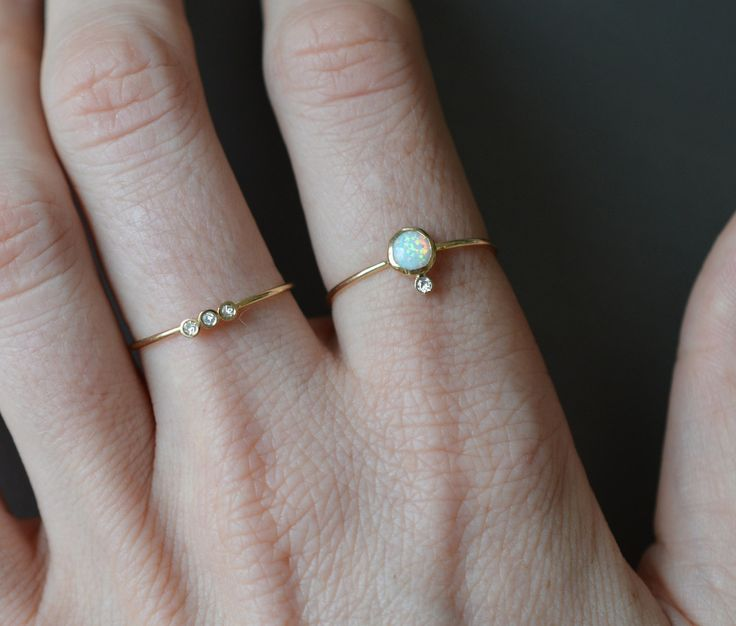 14kt Gold Opal & Diamond Perch Ring - local eclectic  - 9