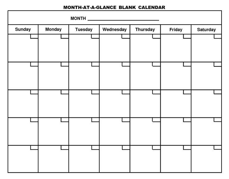 print a blank monthly calendar