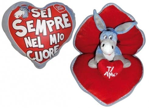 CIUCCIO LOVE CUORE SORPRESA  Cuore in peluche con zip apribile-fuori la scritta Sei sempre nel mio cuore all'interno asinello Forza Napoli con scritto Ti amo